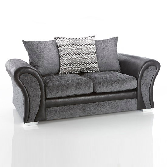 Revive 2 Seater Sofa In Black PU And Grey Fabric