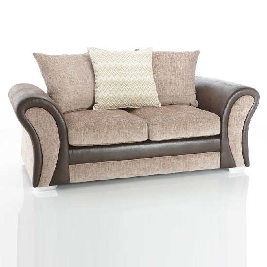 Revive 2 Seater Sofa In Brown Faux Leather And Mink Fabric