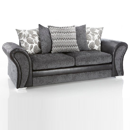 Revive 3 Seater Sofa In Black PU And Grey Fabric