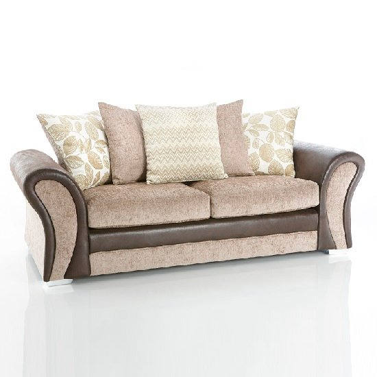 Revive 3 Seater Sofa In Brown Faux Leather And Mink Fabric