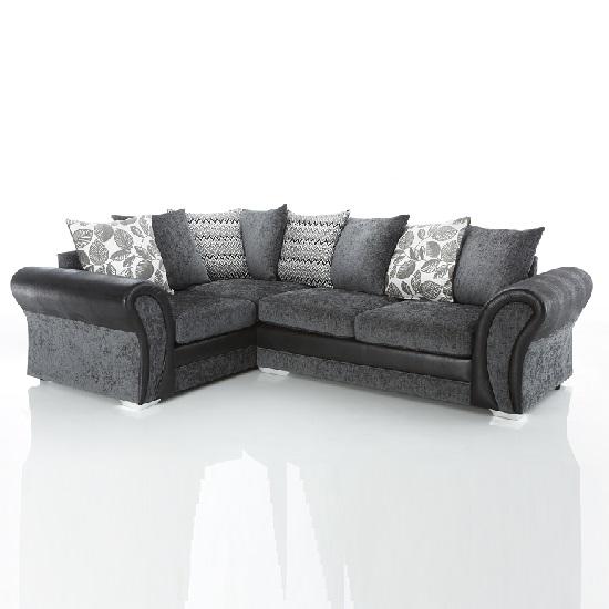 Revive Corner Sofa In Black Pu And Grey Fabric 28027