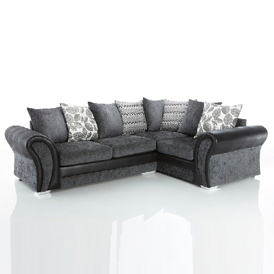 Revive Corner Sofa In Black PU And Grey Fabric