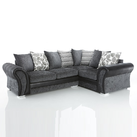 Cheapest Leather Sofas Uk: Revive Corner Sofa In Black PU And Grey Fabric 28027