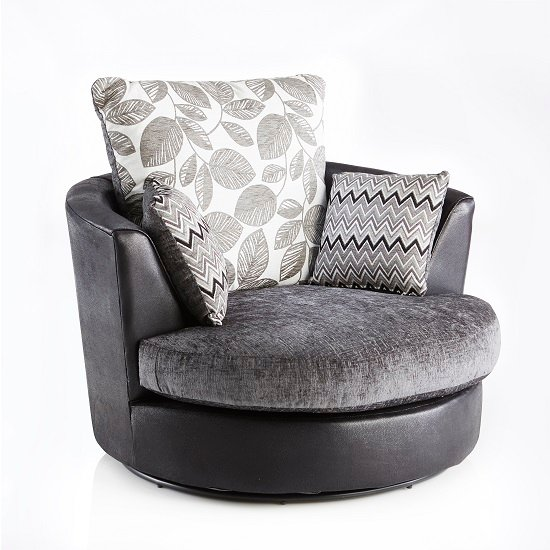 Revive Swivel Sofa Chair In Black PU And Grey Fabric