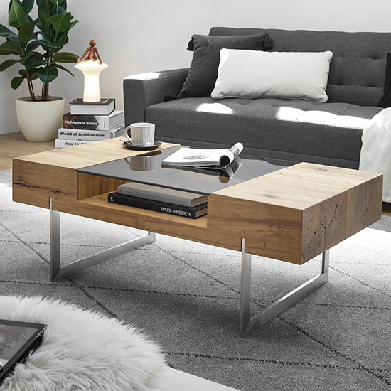 Rewa Wooden Coffee Table In Oak With Brushed Legs