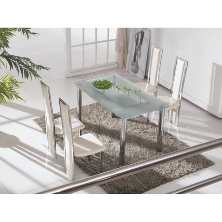 Rimini Large Frosted Glass Dining Table With 4 Cream Chairs
