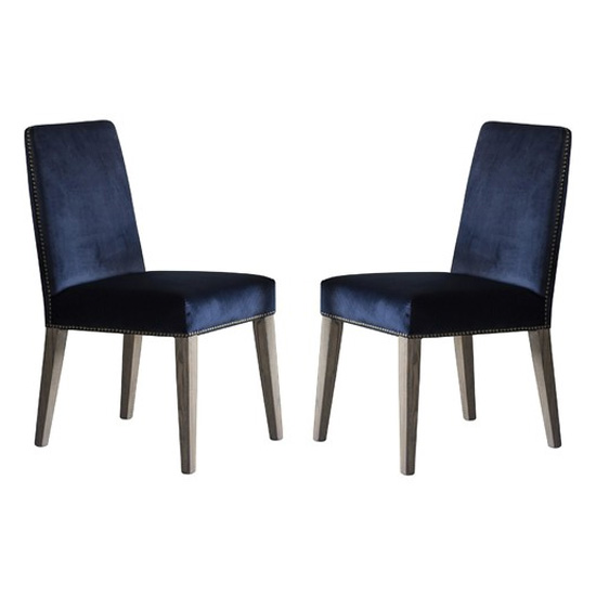 Rex Atlantic Velvet Dining Chairs In Pair