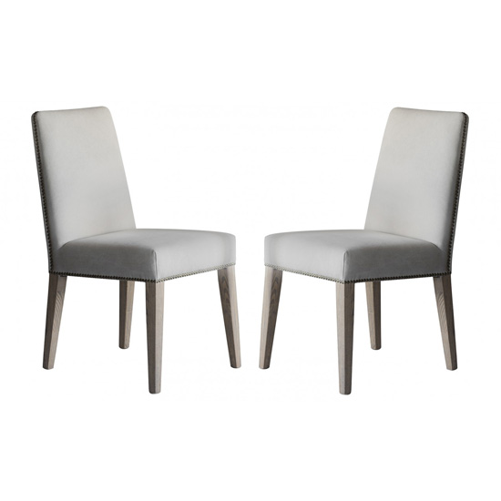 Rex Cement Linen Dining Chairs In Pair