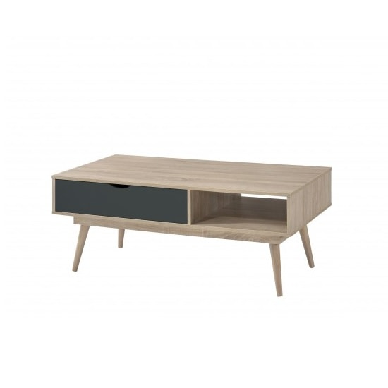 Rhine Wooden Coffee Table In Sonoma Oak With Grey Drawer