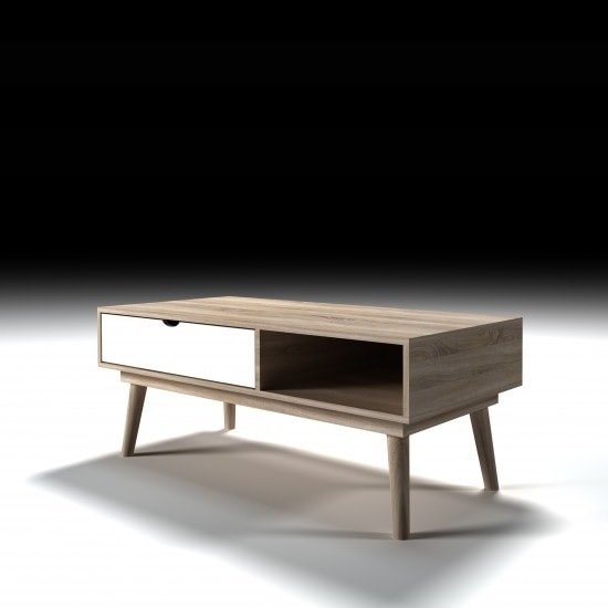 Rhine Wooden Coffee Table In Sonoma Oak With White Drawer