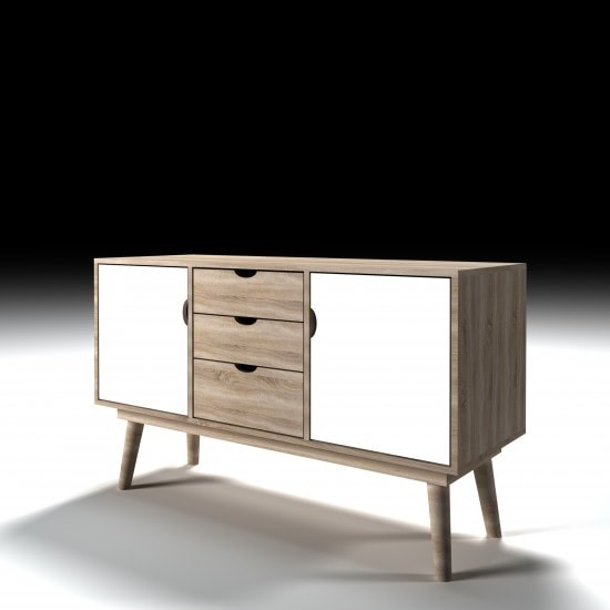 Rhine Wooden Sideboard In Sonoma Oak And White