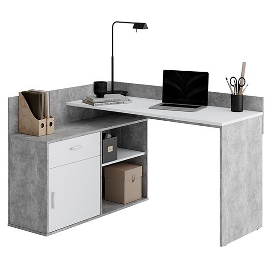 View Rhyl corner wooden computer desk in concrete effect and white