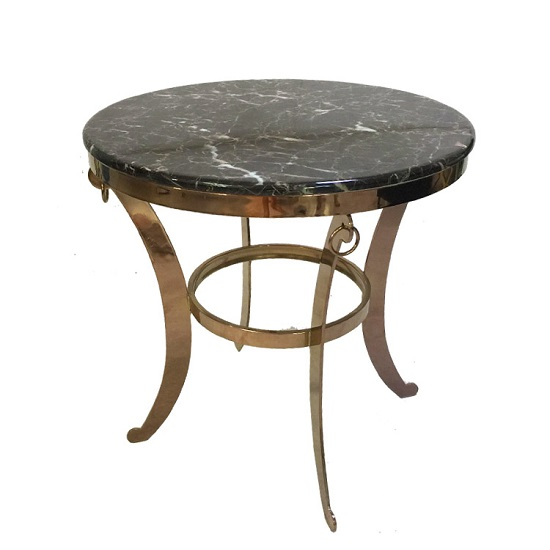 Rialto Marble Coffee Table Round In Dark With Metal Frame