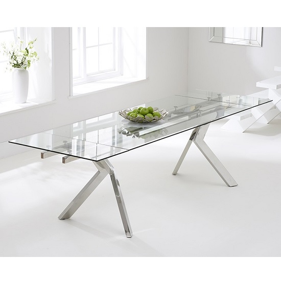 Rialto Extendable Glass Dining Table With Stainless Steel Legs