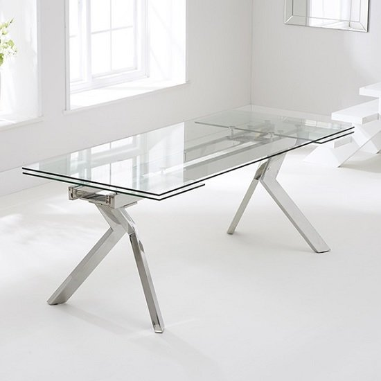 Rialto Extendable Glass Dining Table With Stainless Steel