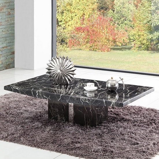 Rialto Marble Coffee Table In Black With Chrome Inserts