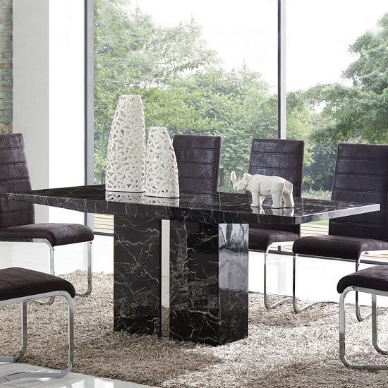 Exceptionnel Rialto Marble Dining Table In Black With Chrome Inserts_1