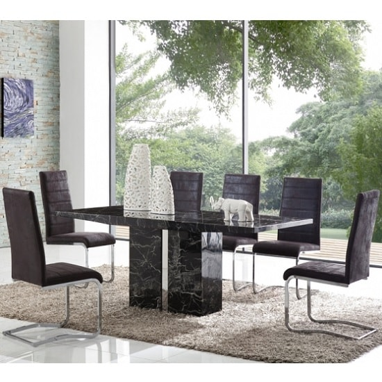 Rialto Marble Dining Table Set In Black With 6 Black Chairs