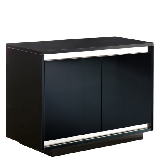 Rialto Modern Marble Sideboard In Black And High Gloss