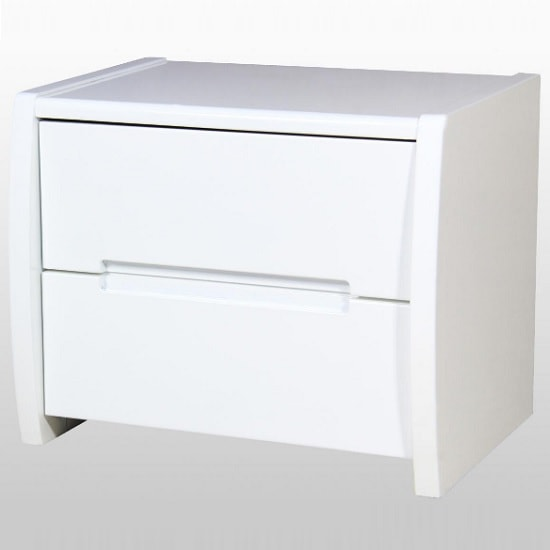 Riano Bedside Cabinet In White High Gloss With 2 Drawers