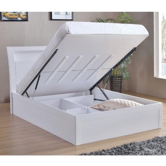 Riano Storage Double Bed In White High Gloss_4