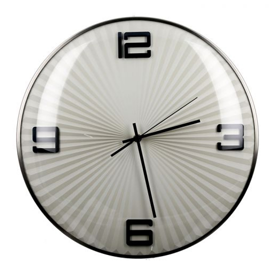 Ribbed Glass Wall Clock With Black And Silver Metal Frame