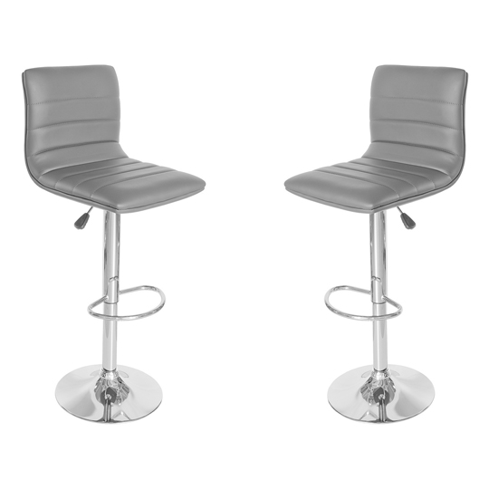 Ribble Grey Leather Bar Stool In Pair