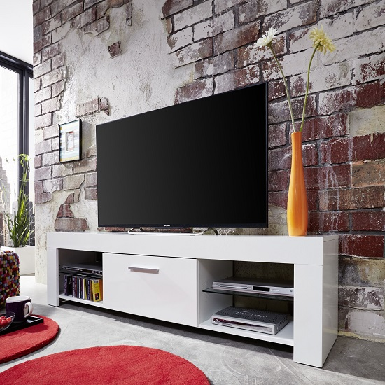 Ricardo LCD TV Stand In White With Gloss Fronts And LED_5