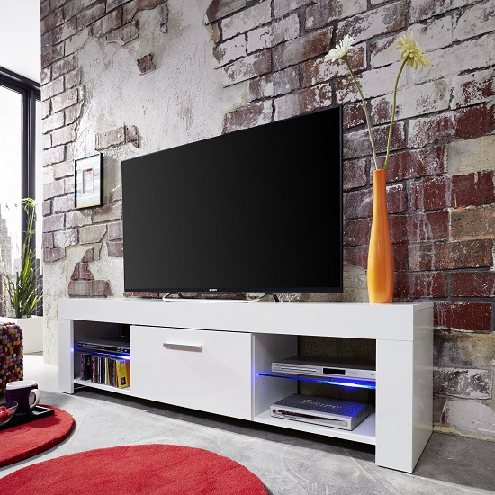 Ricardo LCD TV Stand In White With Gloss Fronts And LED