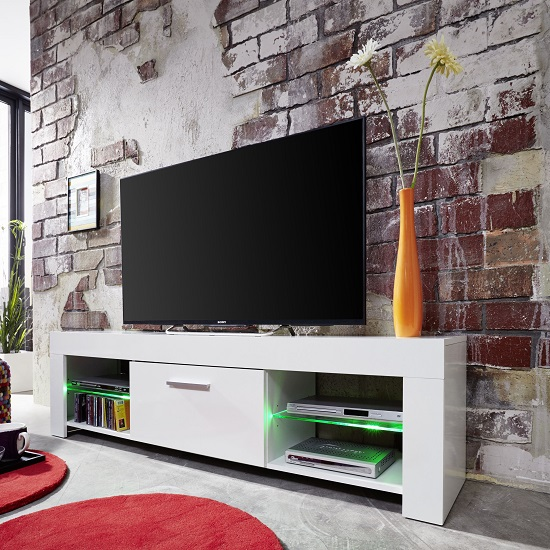 Ricardo LCD TV Stand In White With Gloss Fronts And LED_2