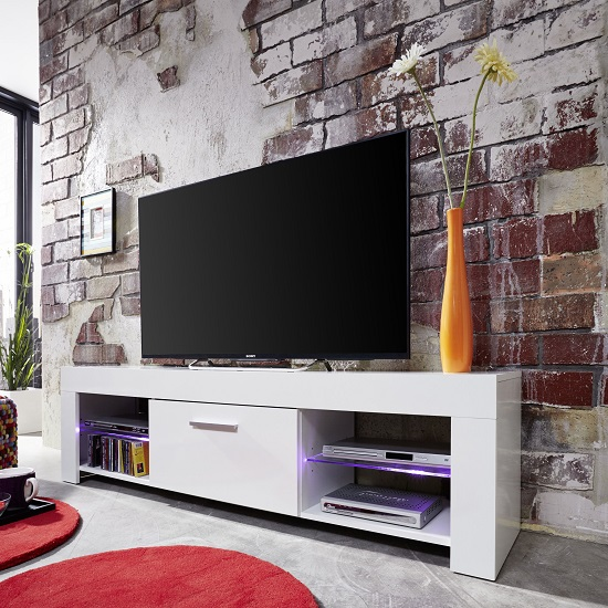 Ricardo LCD TV Stand In White With Gloss Fronts And LED_3