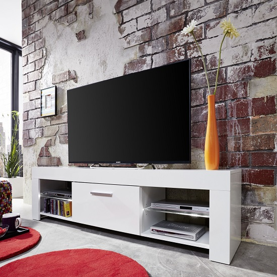 Ricardo LCD TV Stand In White With Gloss Fronts And LED_4