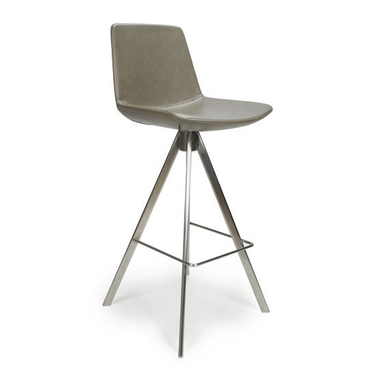 Richard Scoop Seat Bar Chair In Grey With Brushed Steel Legs_1