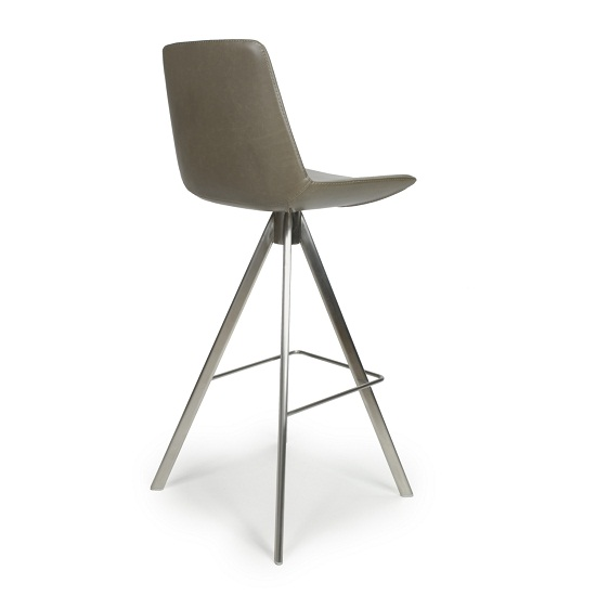 Richard Scoop Seat Bar Chair In Grey With Brushed Steel Legs_2