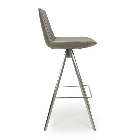 Richard Scoop Seat Bar Chair In Grey With Brushed Steel Legs_3