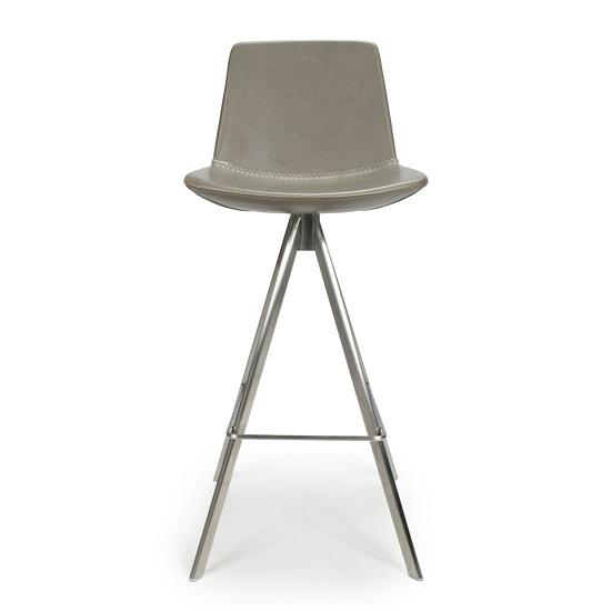 Richard Scoop Seat Bar Chair In Grey With Brushed Steel Legs_4