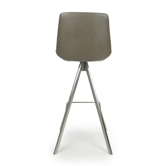 Richard Scoop Seat Bar Chair In Grey With Brushed Steel Legs_5