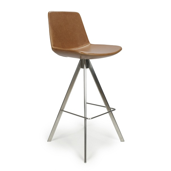 Richard Scoop Seat Bar Chair In Tan With Brushed Steel Legs_1