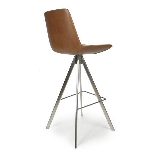 Richard Scoop Seat Bar Chair In Tan With Brushed Steel Legs_2