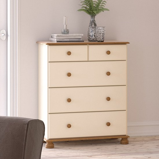 View Richmond wooden chest of drawers in cream and pine with 5 drawer