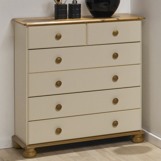 Richmond Wooden Chest Of Drawers In Cream And Pine With 6 Drawer