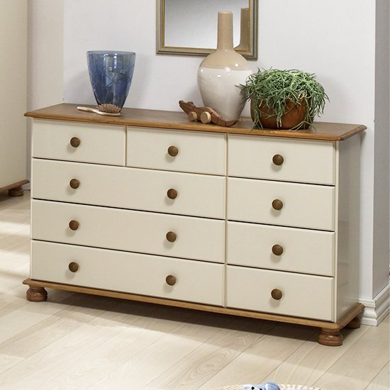 View Richmond wooden chest of drawers in cream and pine with 9 drawer