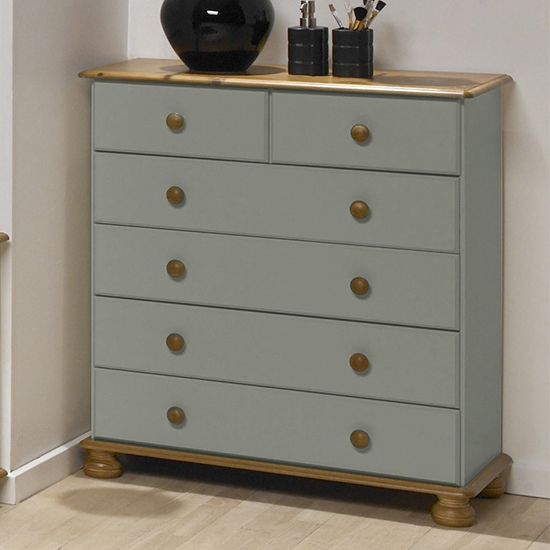 View Richmond wooden chest of drawers in grey and pine with 6 drawers