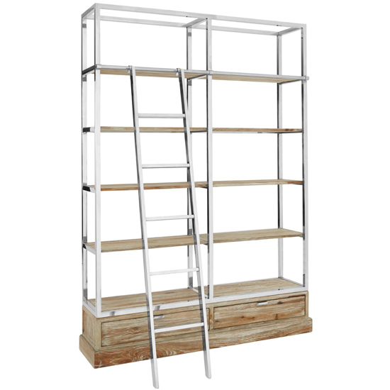 Mintaka Display Unit With Ladder In Brown And Silver   _2