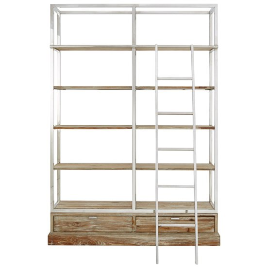 Mintaka Display Unit With Ladder In Brown And Silver