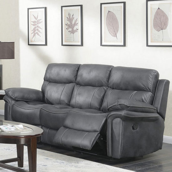 Richmond Fabric 3 Seater Recliner Sofa In Charcoal Grey