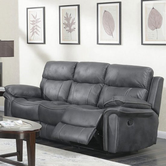 Richmond Fabric 3 Seater Recliner Sofa In Charcoal Grey_1
