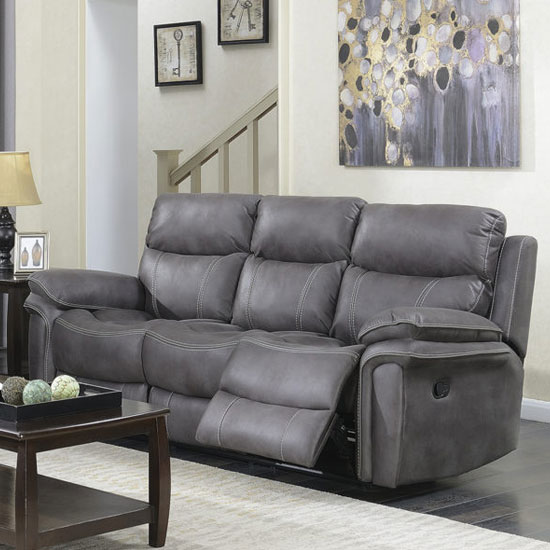 Richmond Fabric 3 Seater Recliner Sofa In Graphite Grey