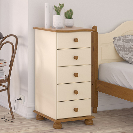 View Richmond narrow chest of drawers in cream and pine with 5 drawer