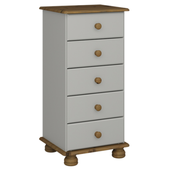 Richmond Narrow Chest Of Drawers In Grey And Pine With 5 Drawers